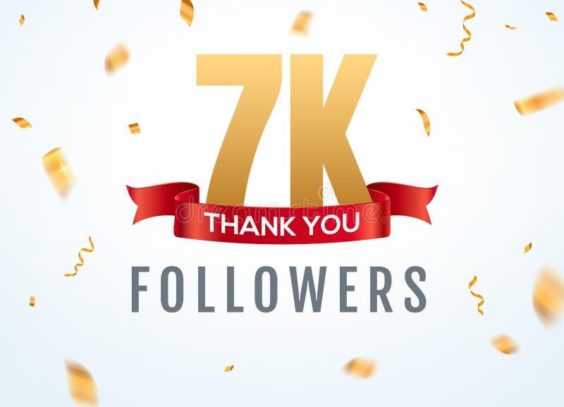 Obrigado que 7000 seguidores projetam o anivers?rio social do network number do molde Amigos dourados do número dos usuários 7k s ilustração royalty free