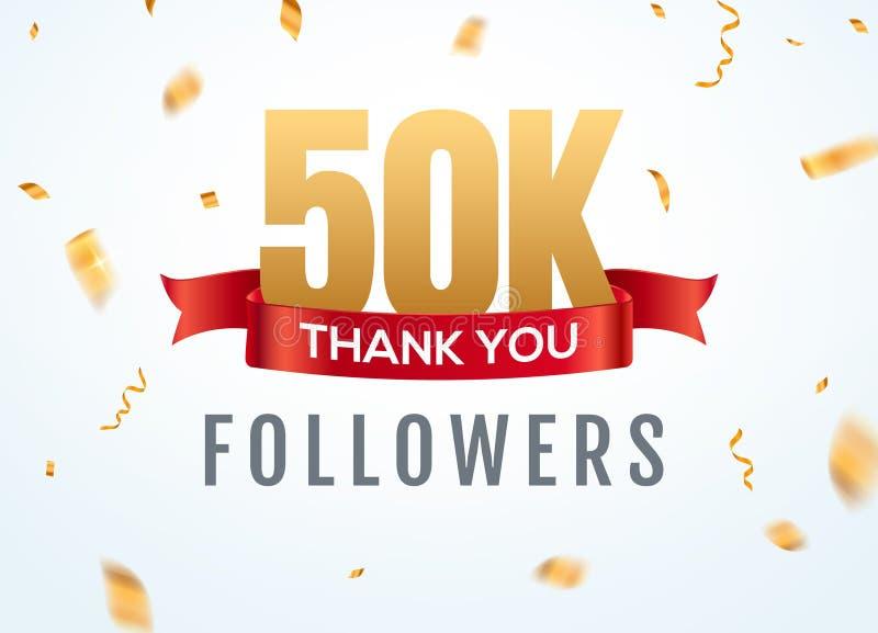 Obrigado que 50000 seguidores projetam o anivers?rio social do network number do molde Amigos dourados do número dos usuários 50k ilustração royalty free