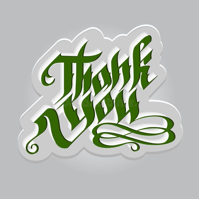 Obrigado rotulação verde gótico na bandeira cinzenta ilustração do vetor