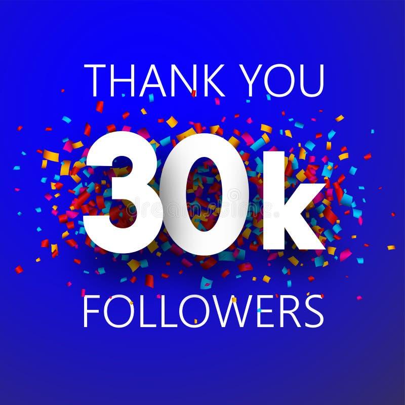 Obrigado, seguidores 30k Cartão com confetes coloridos ilustração stock
