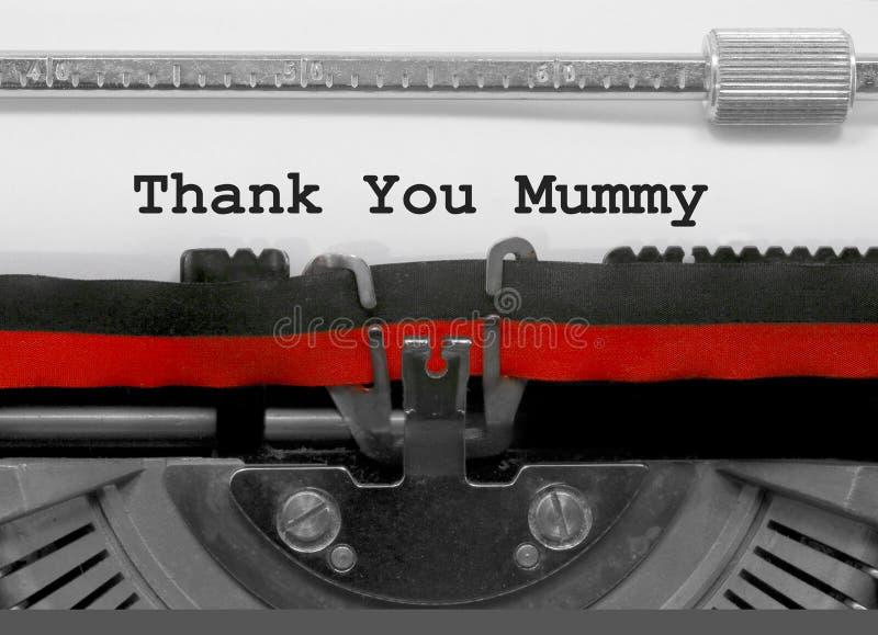 Obrigado serir de mãe na máquina de escrever velha imagem de stock