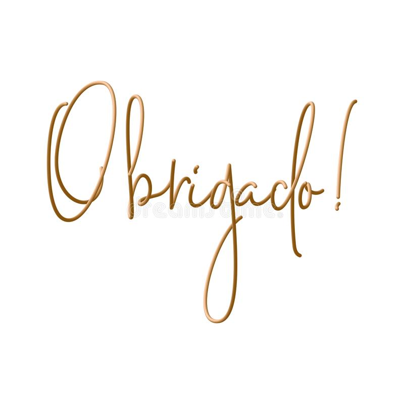 Obrigado tackar dig i portugisisk inskriftdesign Modern handskriven kalligrafi Isolerat på vitbakgrunden stock illustrationer