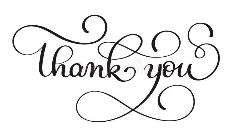 Obrigado texto escrito à mão do vetor da caligrafia ilustração escura da rotulação da pena da escova isolada no fundo branco ilustração stock