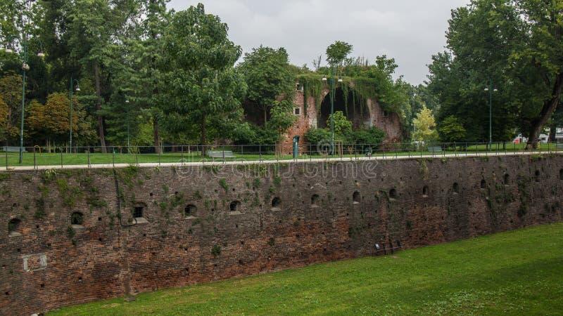 Obrony ściana stary antyczny kasztel zdjęcie stock