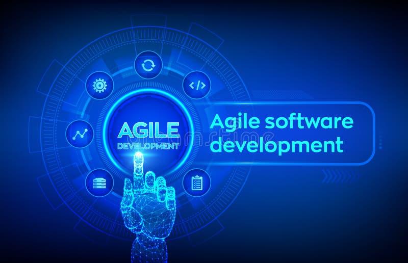 Obrotny rozwój oprogramowania metodologii pojęcie na wirtualnym ekranie Technologia cyfrowa, duży dane pojęcie Elastyczny rozwija royalty ilustracja