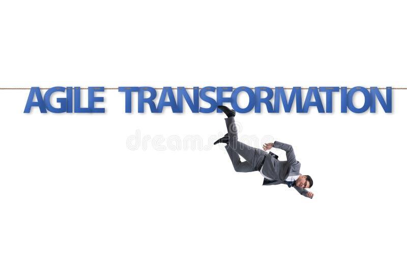 Obrotny transformacji poj?cie z biznesmena odprowadzeniem na ciasnej arkanie ilustracja wektor