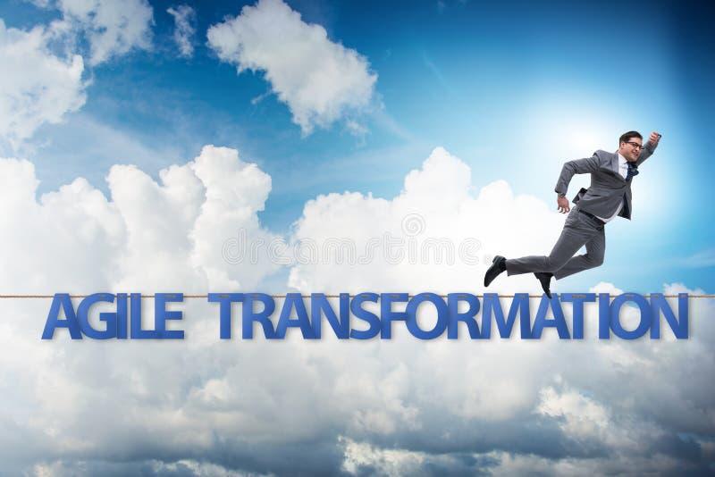 Obrotny transformacji poj?cie z biznesmena odprowadzeniem na ciasnym r obrazy stock