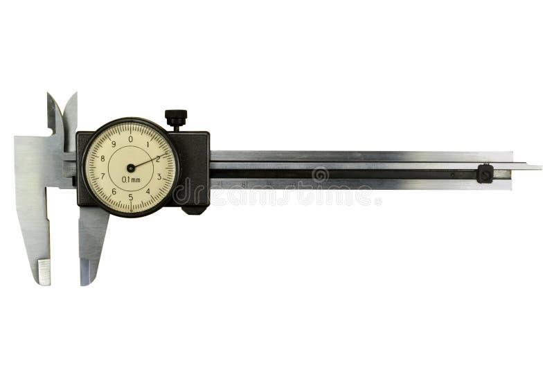 Obruszenia caliper z round skala odizolowywającą na białym tle zdjęcie stock