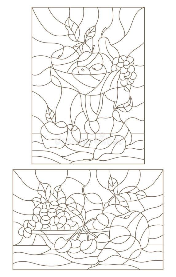Obrysowywa set ilustracje witraż z owoc lifes, wciąż ilustracji
