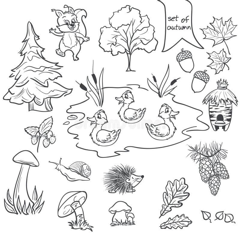 Obrysowywa set na białym tle na temacie jesieni zwierzęta, drzewa, pieczarki, liście royalty ilustracja