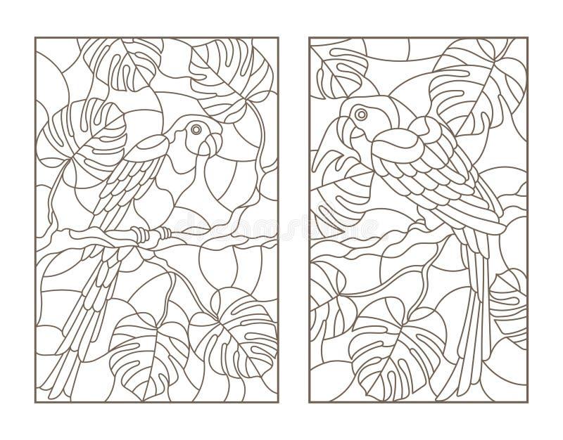 Obrysowywa set z ilustracjami z ptak papugami i liśćmi tropikalne rośliny, zmrok kontury na białym tle ilustracji