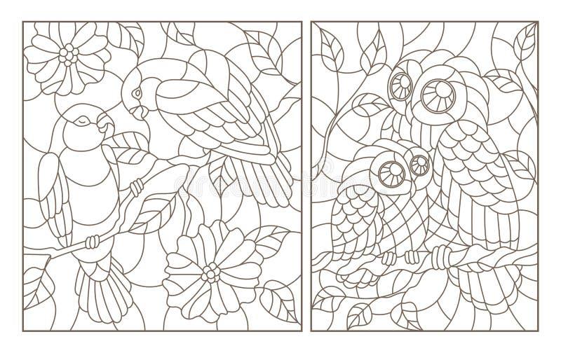 Obrysowywa set z ilustracjami w stylu witrażu z ptakami, pary papug lovebirds i sowy z owlet, ciemny przeciw ilustracji
