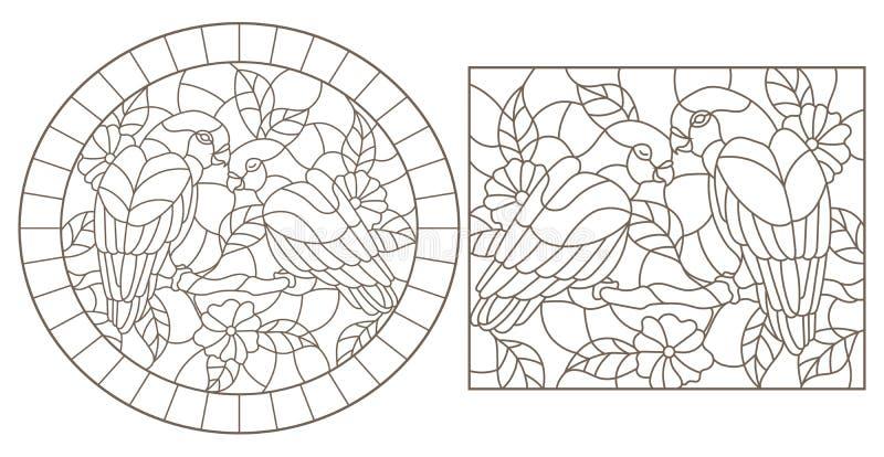 Obrysowywa set z ilustracjami witraż Windows z papug lovebirds i kwiatami, zmrok kontury na białym tle royalty ilustracja