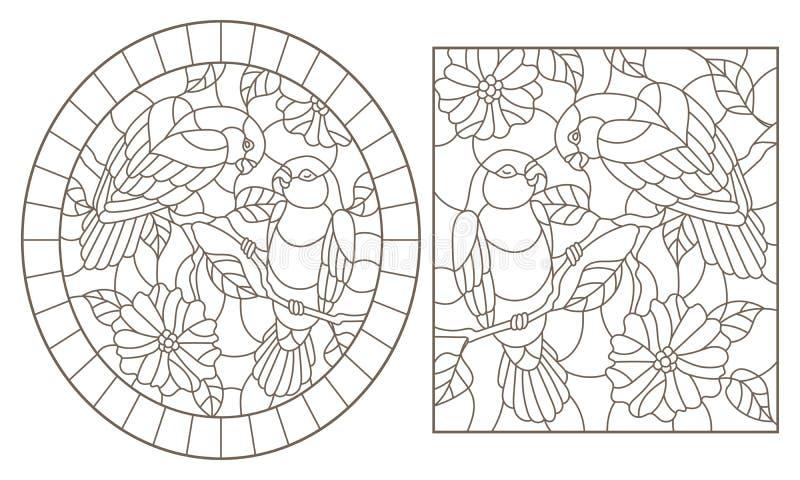 Obrysowywa set z ilustracjami witraż Windows z papug lovebirds i kwiatami, zmrok kontury na białym tle ilustracji