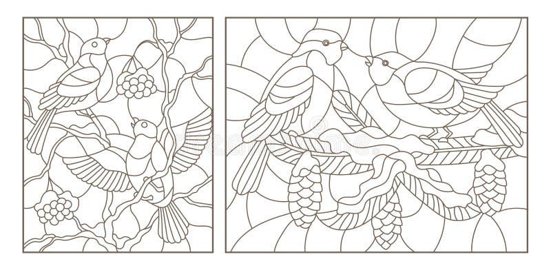 Obrysowywa set z ilustracjami witraż z ptakami na gałąź śnieżyści drzewa, zmrok kontury na białym backg royalty ilustracja