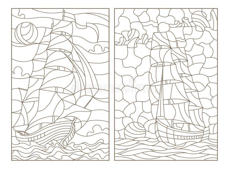 Obrysowywa set z ilustracjami witraż, seascape, statki żegluje na tle chmurny niebo i słońce, ciemny przeciw royalty ilustracja
