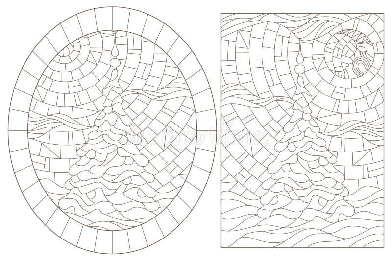 Obrysowywa set z ilustracjami witraż Windows z choinkami, zmrok kontury na białym tle ilustracja wektor
