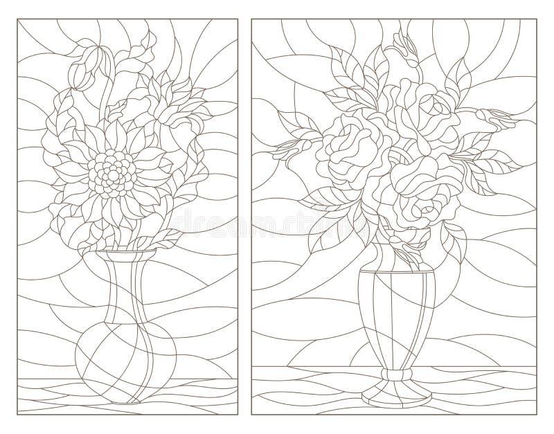 Obrysowywa set z ilustracjami witraż Windows z kwiecistymi lifes, bukietami słoneczniki i różami w wazach wciąż, zmrok ilustracji