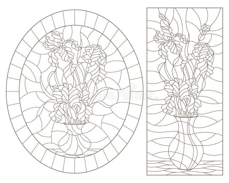 Obrysowywa set z ilustracjami witraży lifes wciąż, bukiety irysy w wazach, zmrok kontury na białym tle ilustracji