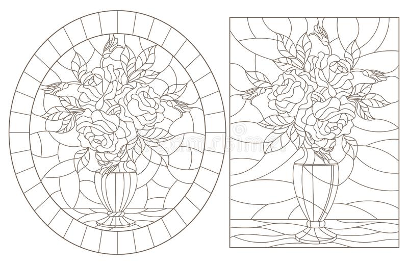 Obrysowywa set z ilustracjami witraży lifes wciąż, bukiety róże w wazach, zmrok kontury na białym tle ilustracji