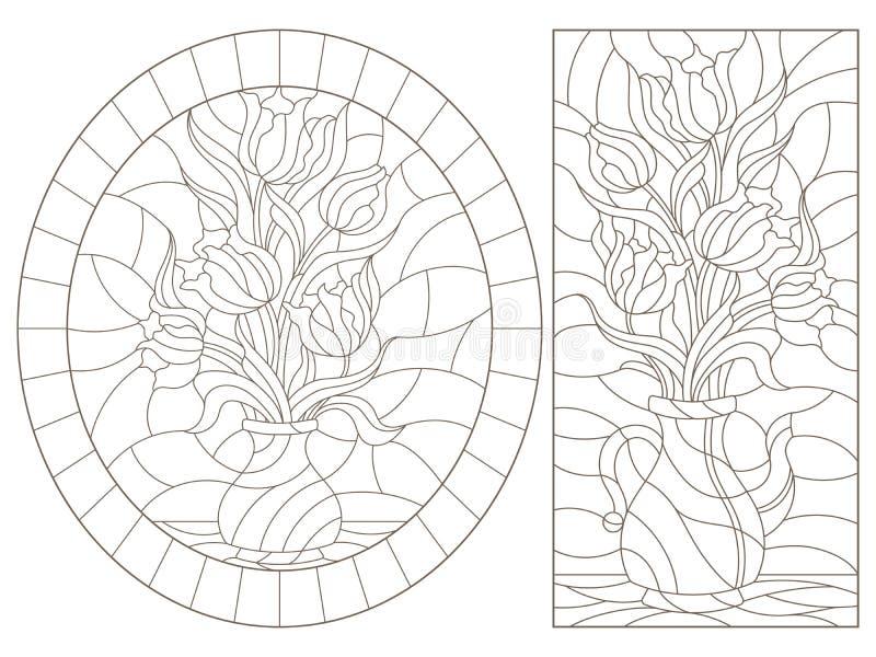 Obrysowywa set z ilustracjami witraży lifes wciąż, bukiety tulipany w wazach, zmrok kontury na białym tle ilustracji
