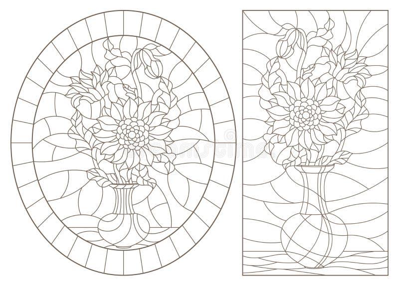 Obrysowywa set z ilustracjami witraży lifes wciąż, bukiety w wazach, zmrok kontury na białym tle ilustracja wektor