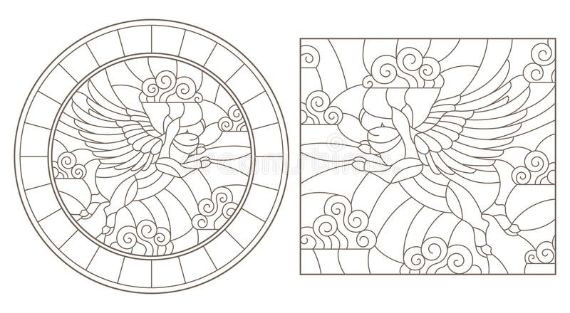 Obrysowywa set z wizerunkami latające świnie w nieba, round i kwadratowego wizerunku, royalty ilustracja