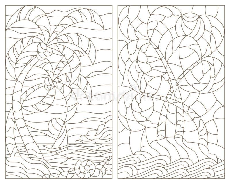 Obrysowywa ustaloną ilustrację z witrażem Windows tropikalni krajobrazy, wyspa z drzewkami palmowymi, ocean i słońce, przeciw nie ilustracja wektor