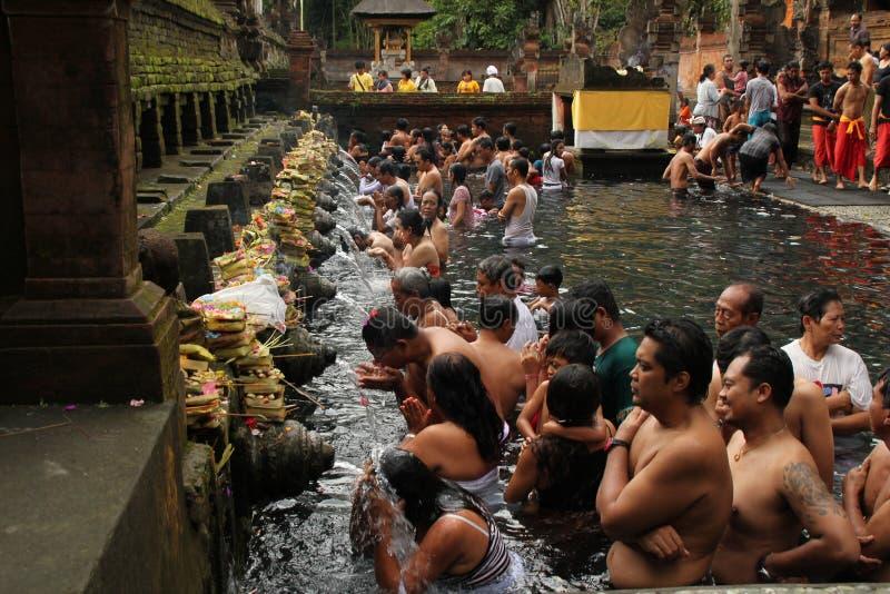 Obrządkowa kąpanie ceremonia przy Tampak Siring, Bali Indonezja zdjęcie royalty free