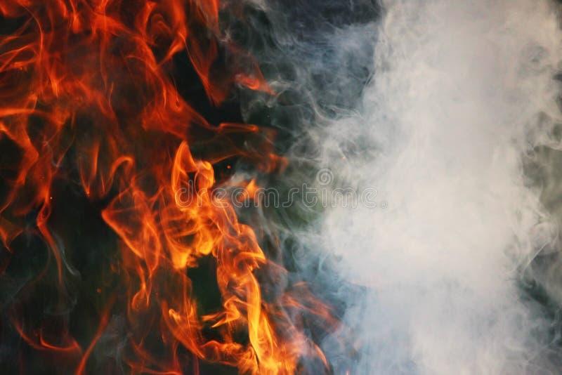 Obrządkowy taniec ogień i dym przeciw tłu zielona trawa trzy elementy fotografia stock