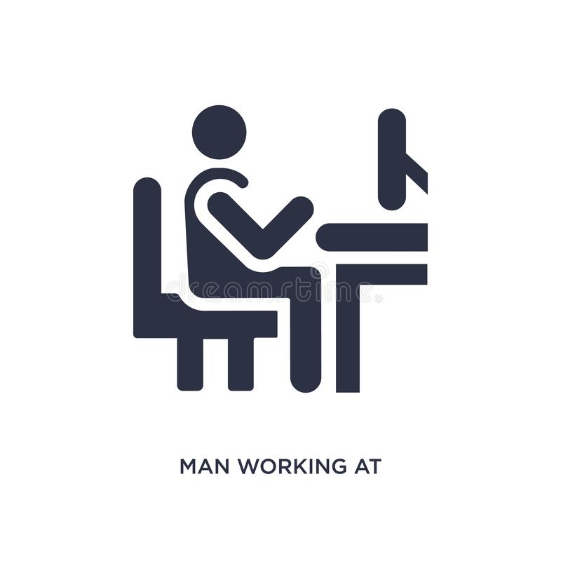 obsługuje działanie przy biurko ikoną na białym tle Prosta element ilustracja od zachowania pojęcia ilustracja wektor