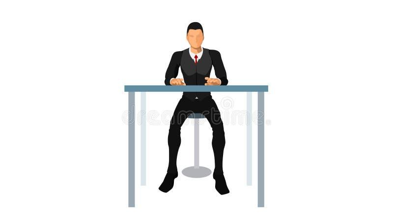 Obsługa klienta siedzi samotnie ilustracja wektor