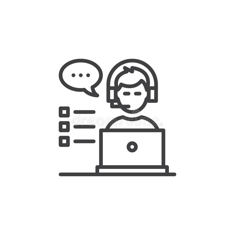 Obsługi klienta kreskowa ikona, konturu wektoru znak, liniowy piktogram na bielu ilustracji