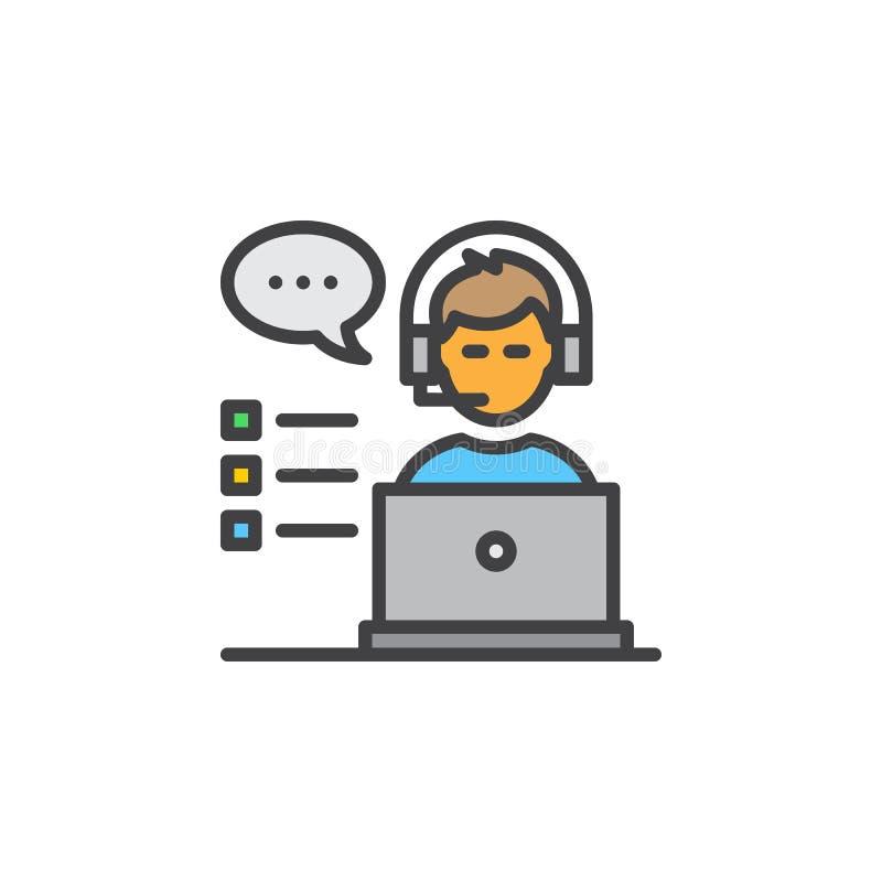 Obsługi klienta kreskowa ikona, wypełniający konturu wektoru znak, liniowy kolorowy piktogram odizolowywający na bielu ilustracja wektor