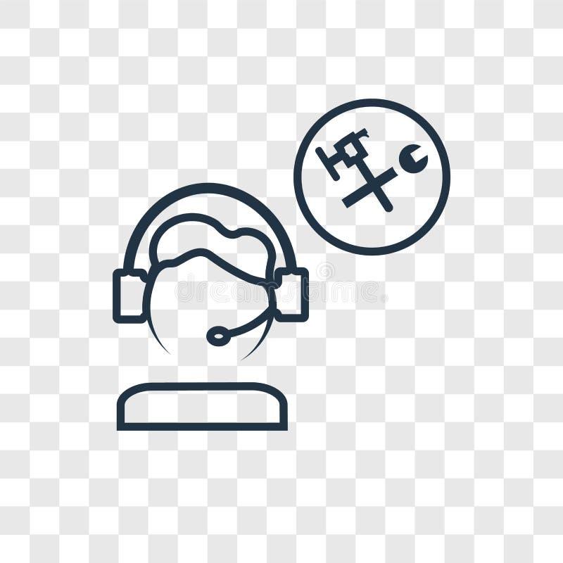 Obsługi klientej pojęcia wektorowa liniowa ikona odizolowywająca na transpar ilustracja wektor