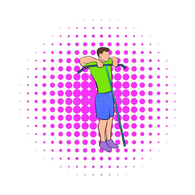 Obsługuje ćwiczyć na kablowej maszynowej ikonie, komiczki projektuje royalty ilustracja