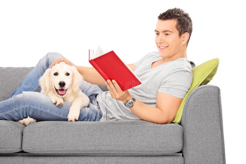 Obsługuje łgarską czytelniczą książkę na kanapie z szczeniakiem obrazy royalty free