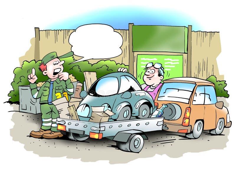Obsługuje świstek przy przetwarza centrum jego mały stary samochód ilustracji