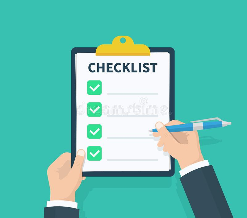 Obsługuje chwyt listy kontrolnej schowek z lista kontrolna kwestionariuszem, ankieta, schowek, zadanie listy Płaski projekt, wekt royalty ilustracja