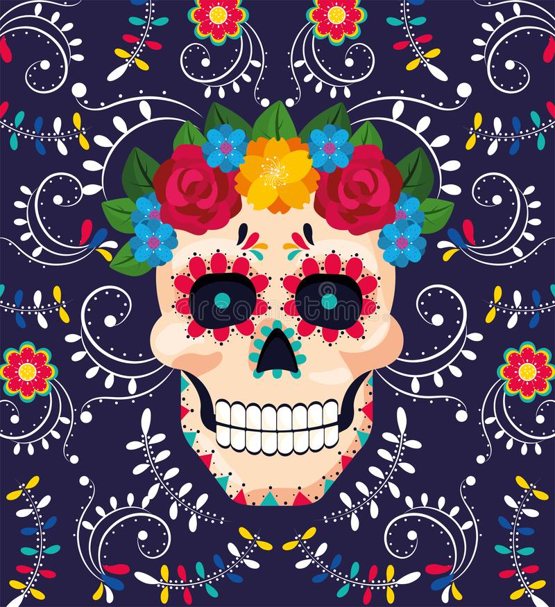 Obsługuje czaszki dekorację z kwiatami meksykański wydarzenie ilustracja wektor