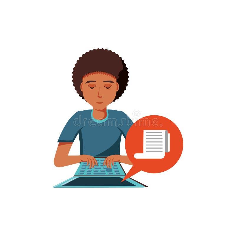 Obsługuje czerń z laptopem i tapetuje kwit w mowa bąblu ilustracji