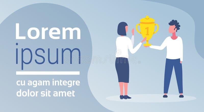 Obsługuje dawać trofeum filiżanki kobiety mistrza miejsca zwycięstwa pojęcia dziewczyny pierwszy zwycięzcy złotych nagrodzonych l ilustracja wektor