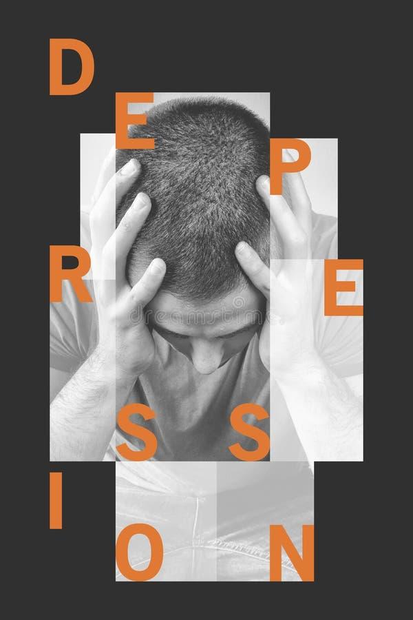 Obsługuje depresję, stres, migrena nieszczęśliwa, deprymujący, Słowo depresja ilustracja wektor