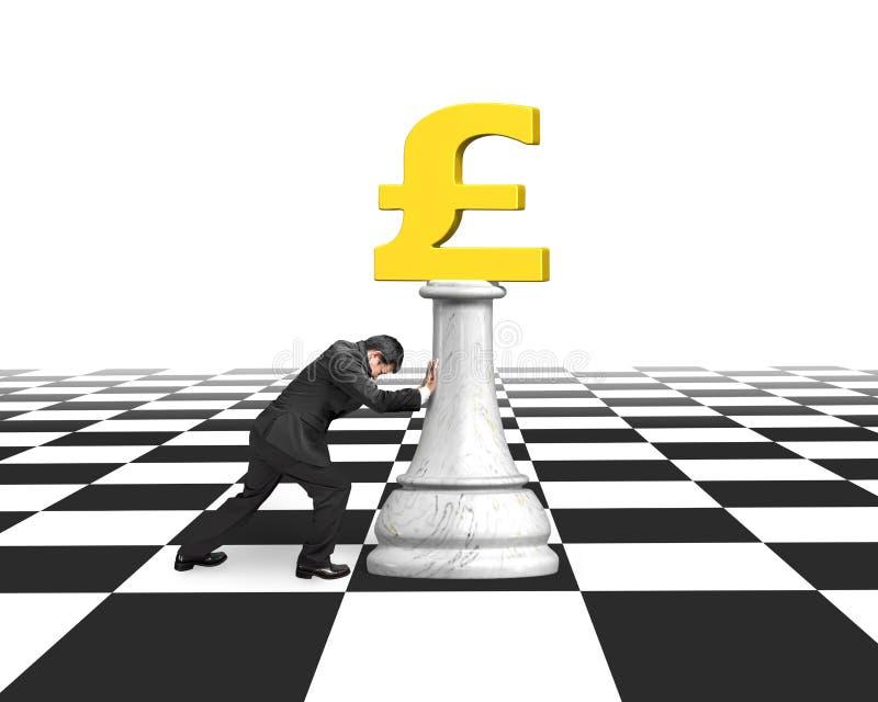 Obsługuje dosunięcie pieniądze szachy złota funtowa waluta ilustracji