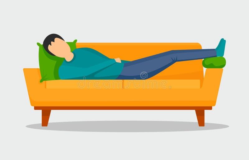 Obsługuje dosypianie przy kanapa sztandarem horyzontalnym, mieszkanie styl royalty ilustracja
