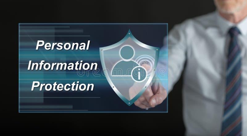 Obsługuje dotykać informaci osobistej ochrony pojęcie na dotyka ekranie obrazy stock