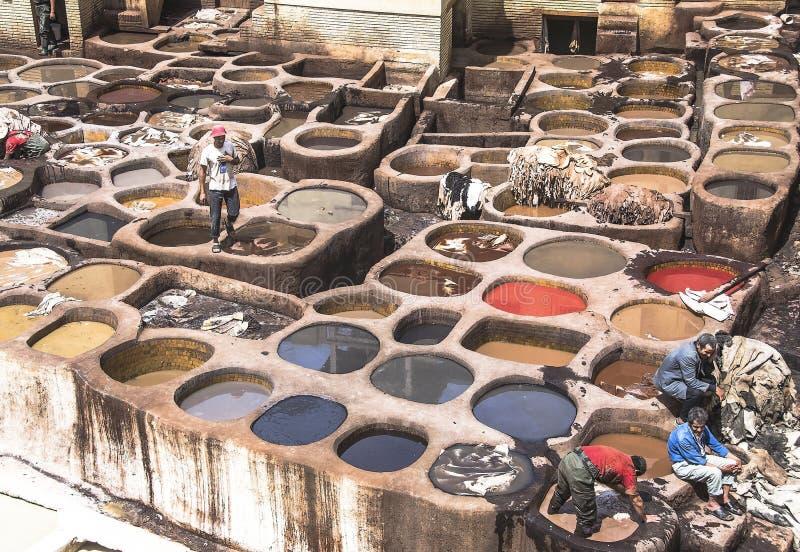 Obsługuje działanie gdy garbarz w barwidle puszkuje przy rzemiennymi garbarniami przy Medina, Fes el Bali w fezie, Maroko obrazy stock