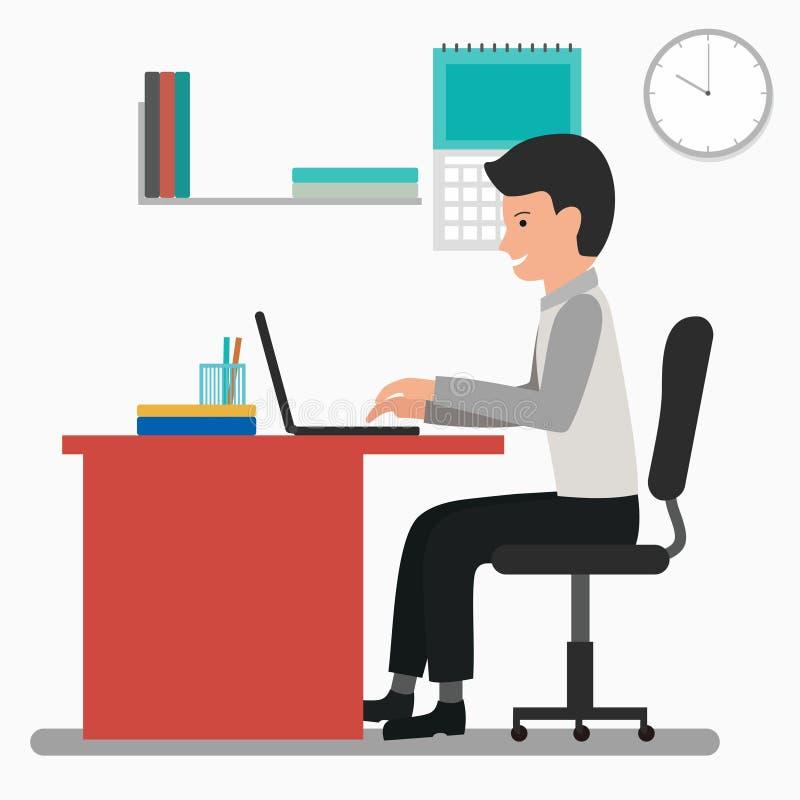 Obsługuje działanie w biurowej wektorowej ilustracji z płaskim projektem ilustracji