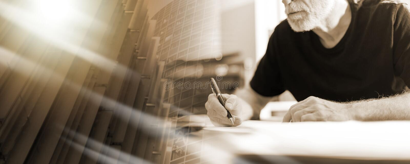 Obsługuje działanie w biurze, ciężki lekki skutek; wieloskładnikowy ujawnienie zdjęcie stock