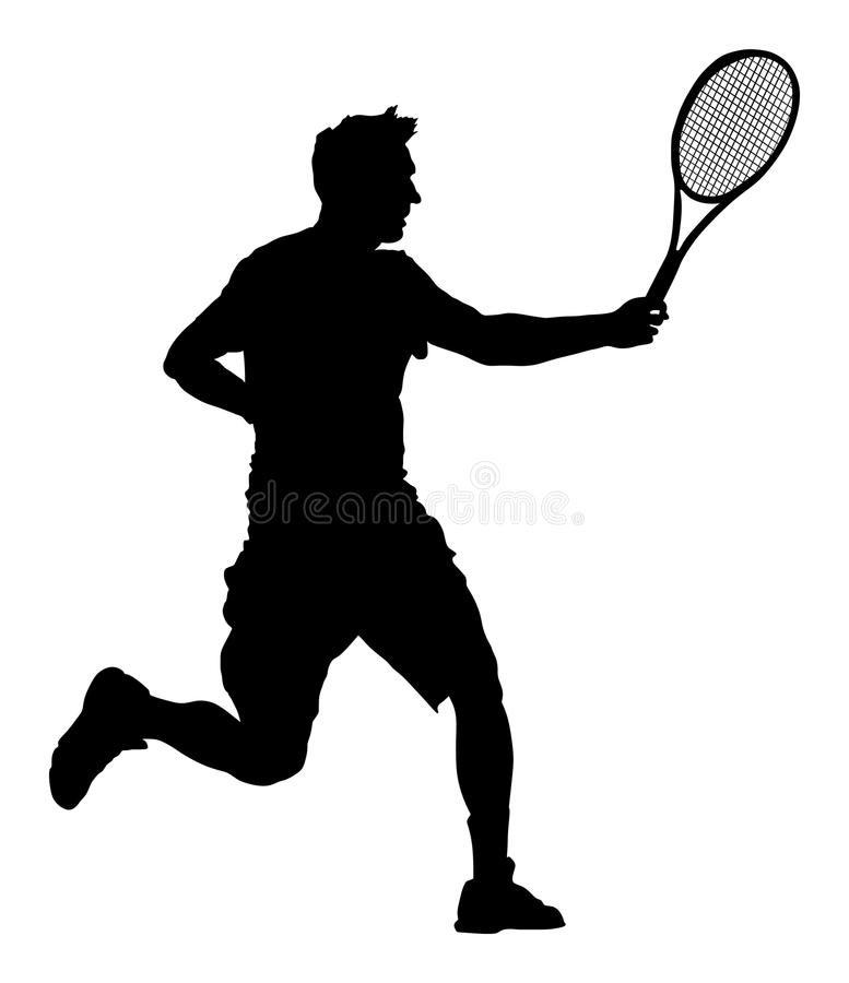 Obsługuje gracz w tenisa wektorową sylwetkę odizolowywającą na białym tle ilustracji